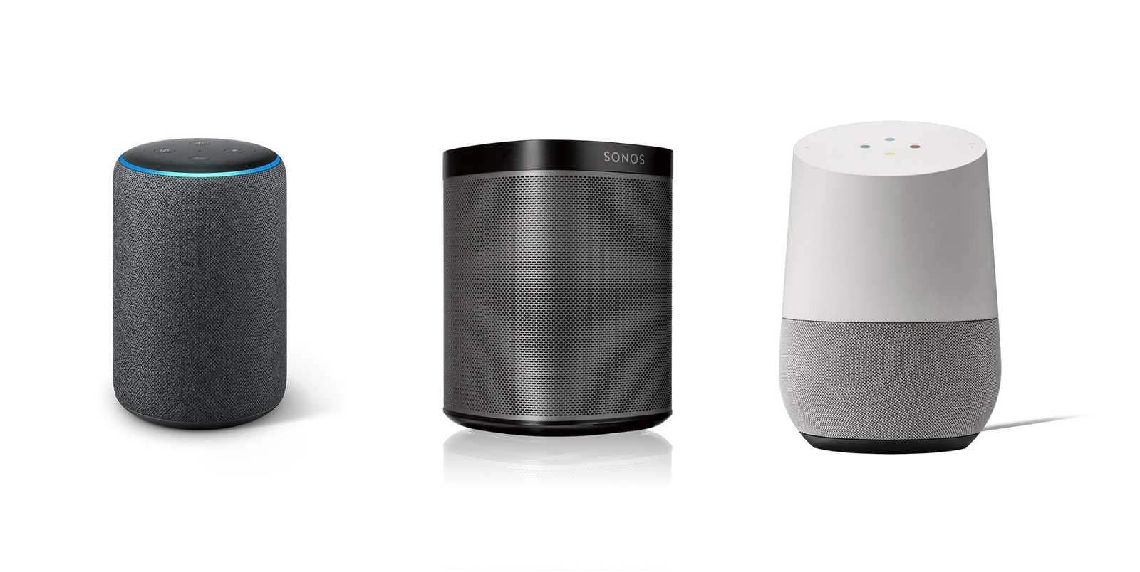 An Amazon Echo, Sonos Play 1, and Google Home sitting in a row.
