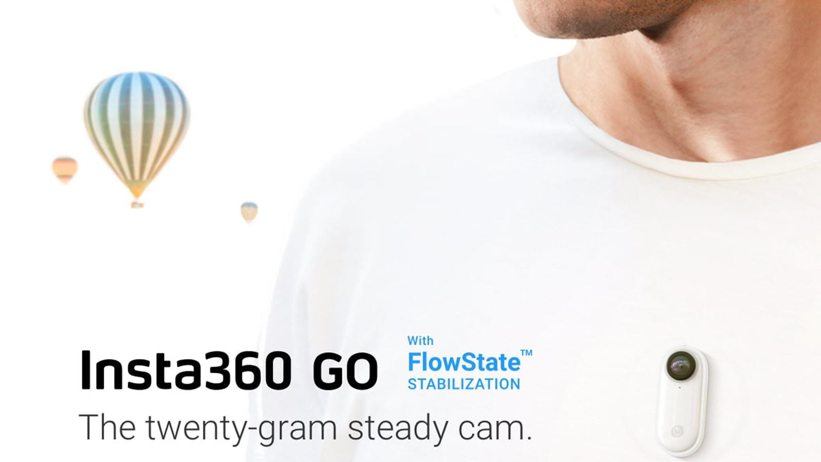 The Insta360 Go camera mounted to a person's chest.