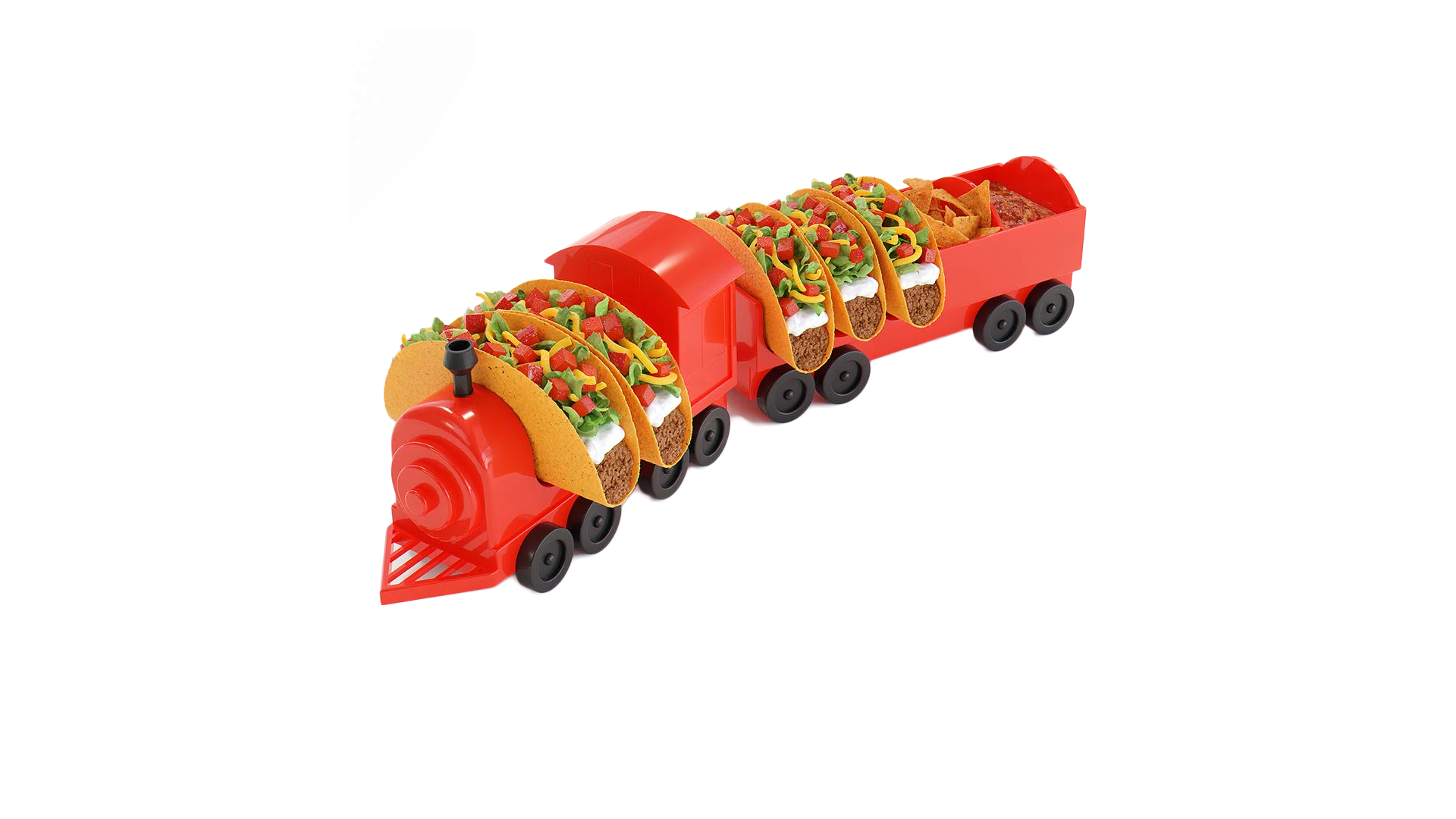 The taco train full of hard shell tacos, with chips and salsa in the caboose.