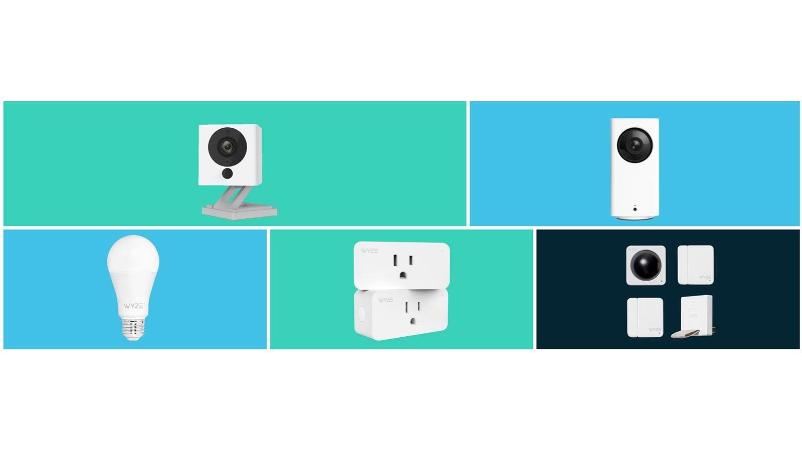 A Wyze Cam, Wyze Cam Pan, Wyze Bulb, Wyze Plugs, and Wyze Sensor kit