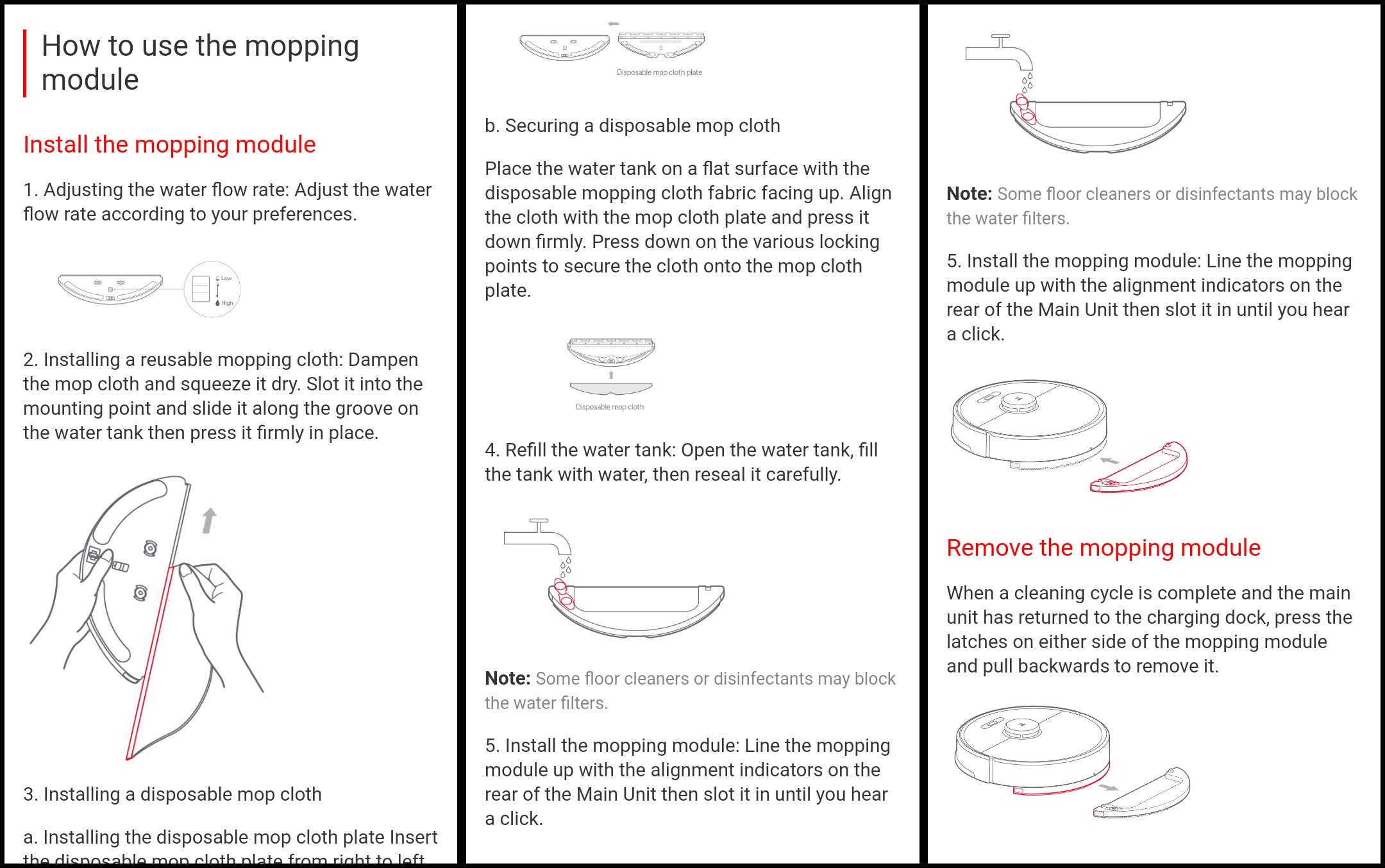 Instructions for using the mopping module