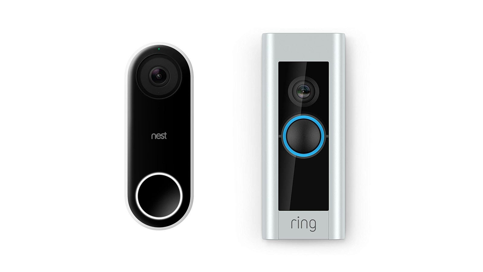 A Nest Hello Video Doorbell and Ring Video doorbell.