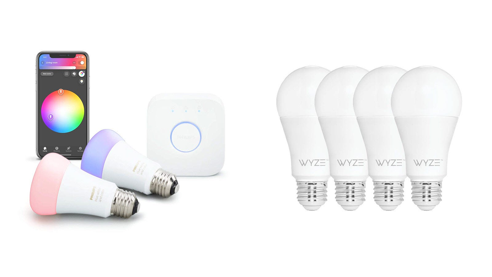 Philips Hue and Wyze Smart Bulbs.