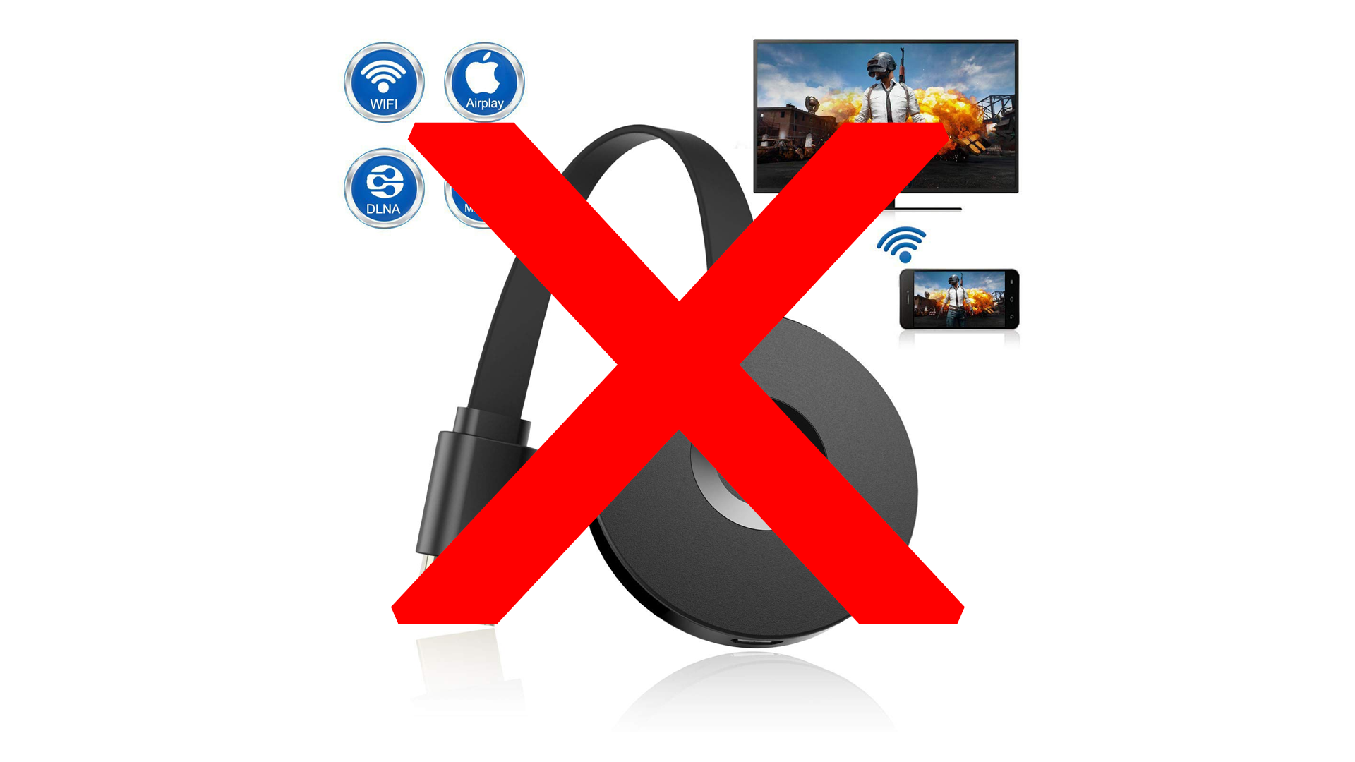 The VCAST unofficial AirPlay video receiver marked out with a big red X.