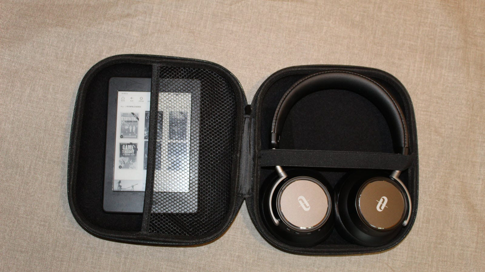 The Taotronics headphones in the case, and a kindle fits with room to spare.