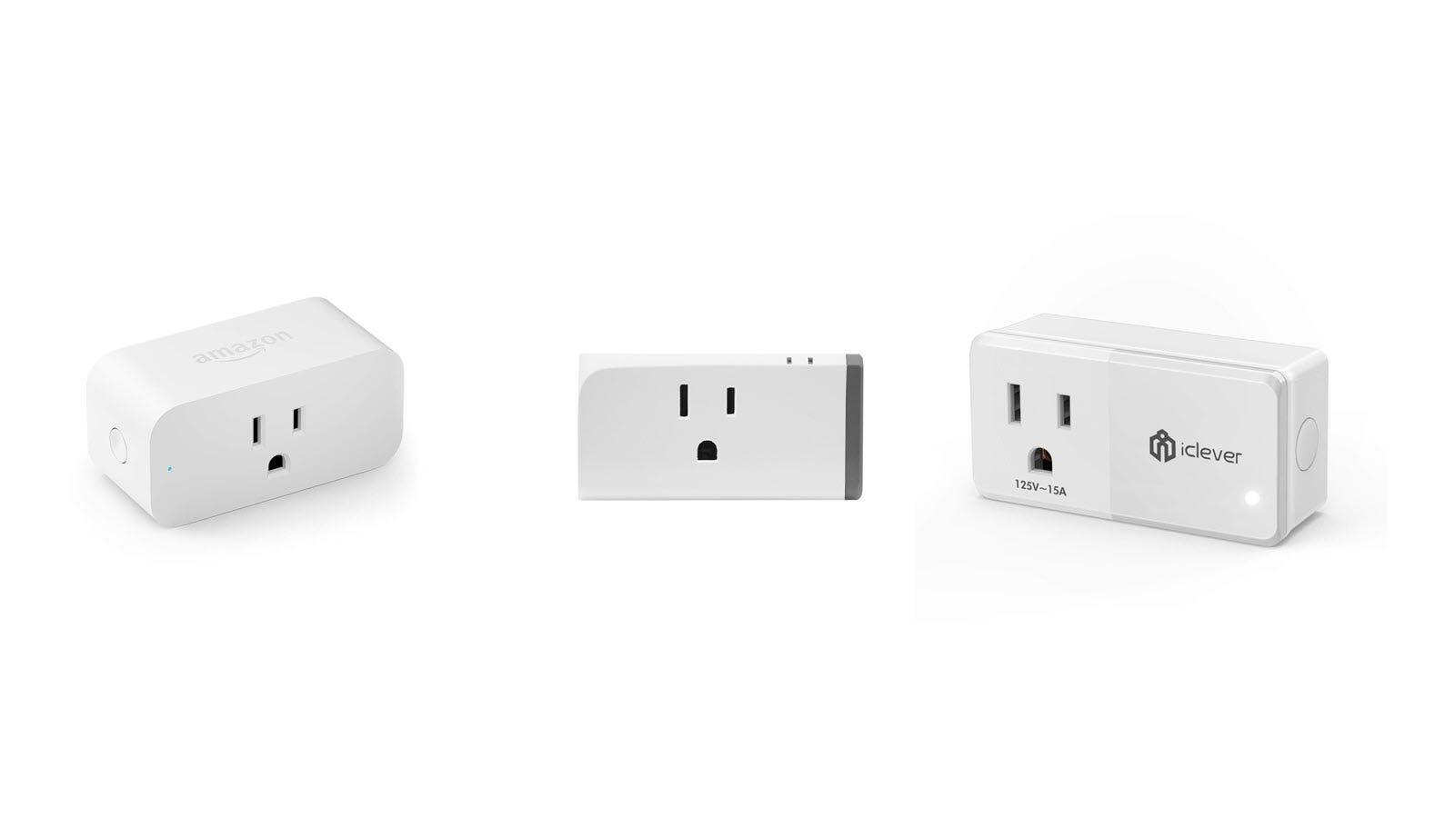 An Amazon Smart plug, Sonoff Smart Plug, and iClever smart plug side-by-side.