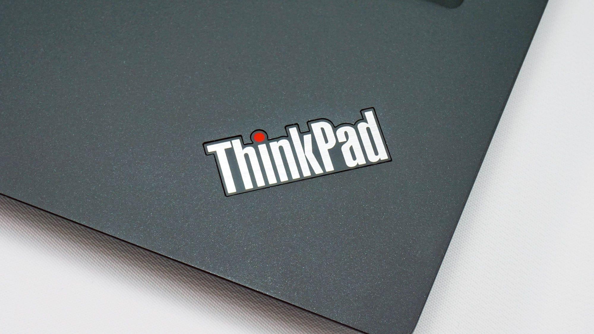 The ThinkPad logo on the T490s.