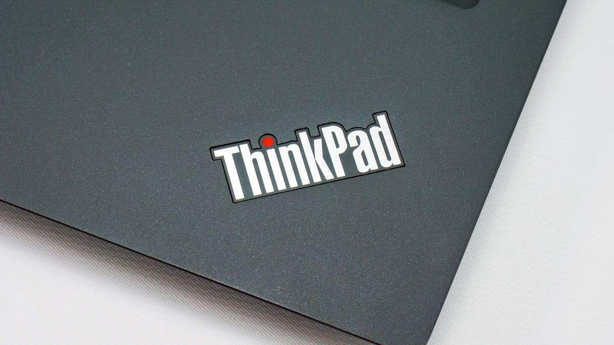 ThinkPad logo on a Lenovo ThinkPad laptop