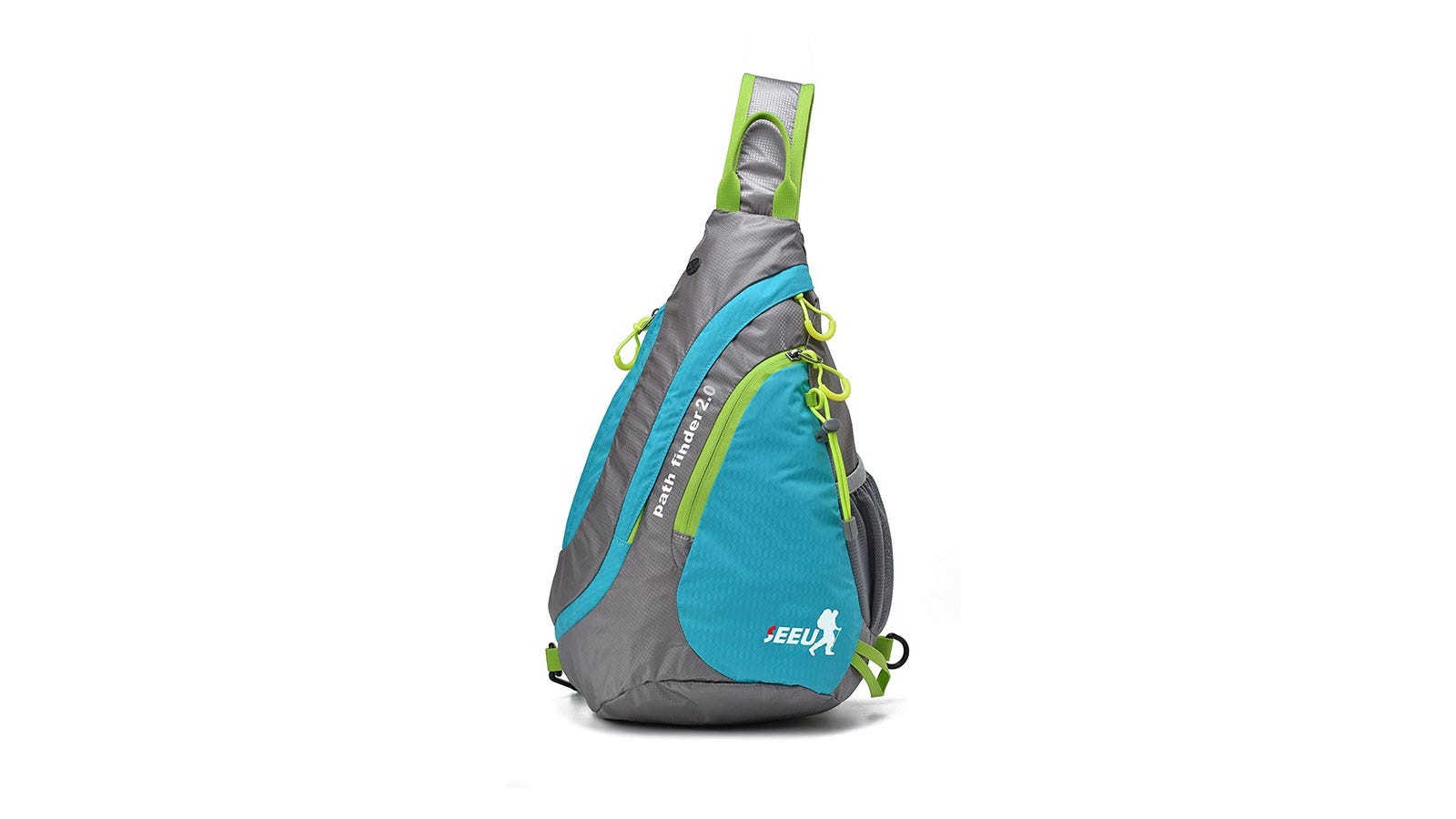 The SEEU Ultralight Water-resistant Shoulder Crossbody Bag seen from the back, in blue, grey, and green colors.