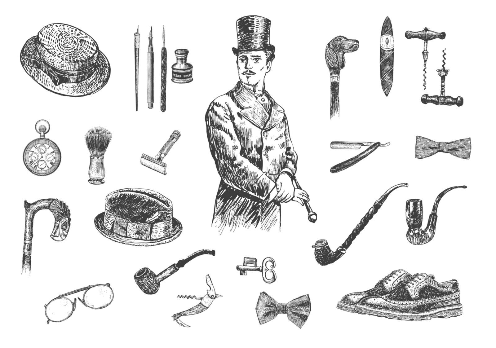 Victorian Era Collection, Gentleman's vintage accessories doodle collection. Hand drawn men illustrations set. Gentlemen in a tuxedo and a top hat. Vintage vector engraving style