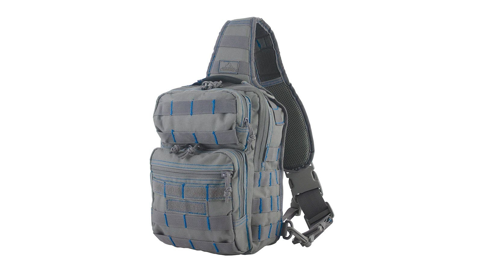 Red Rock Outdoor Gear - Rover sling seen from the back in grey and blue trim.