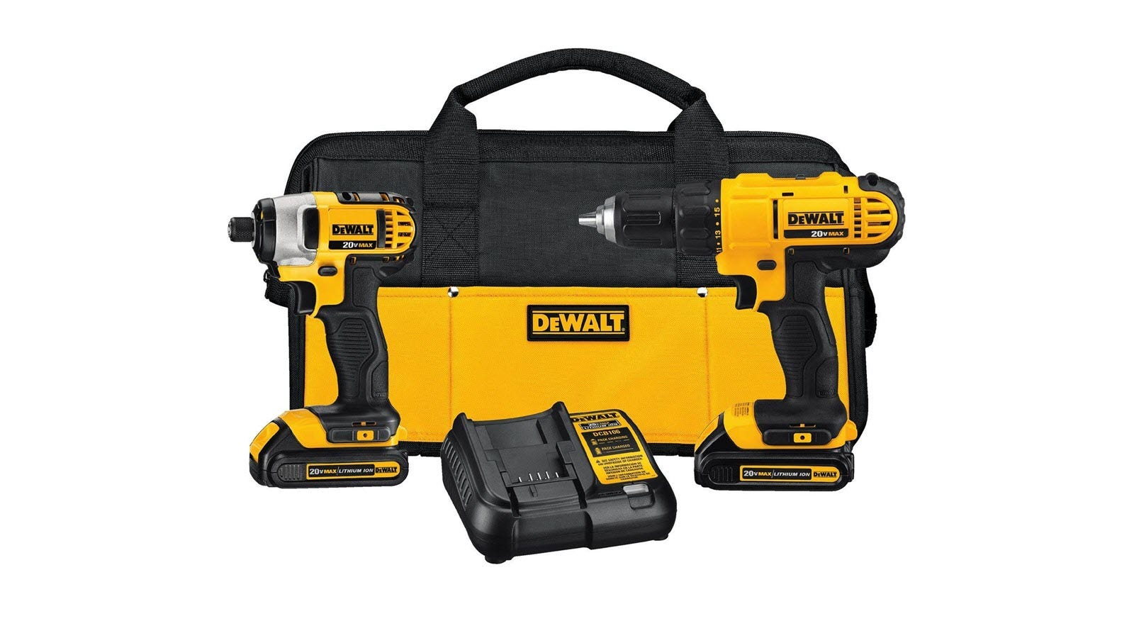 A DEWALT Impact Driver and Power drill combo kit, showing batteries, charger, and case.