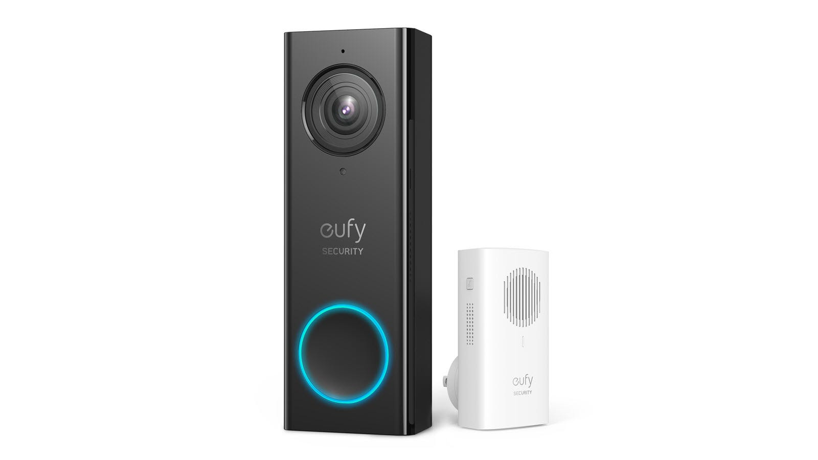 A eufy video doorbell and wireless chime.