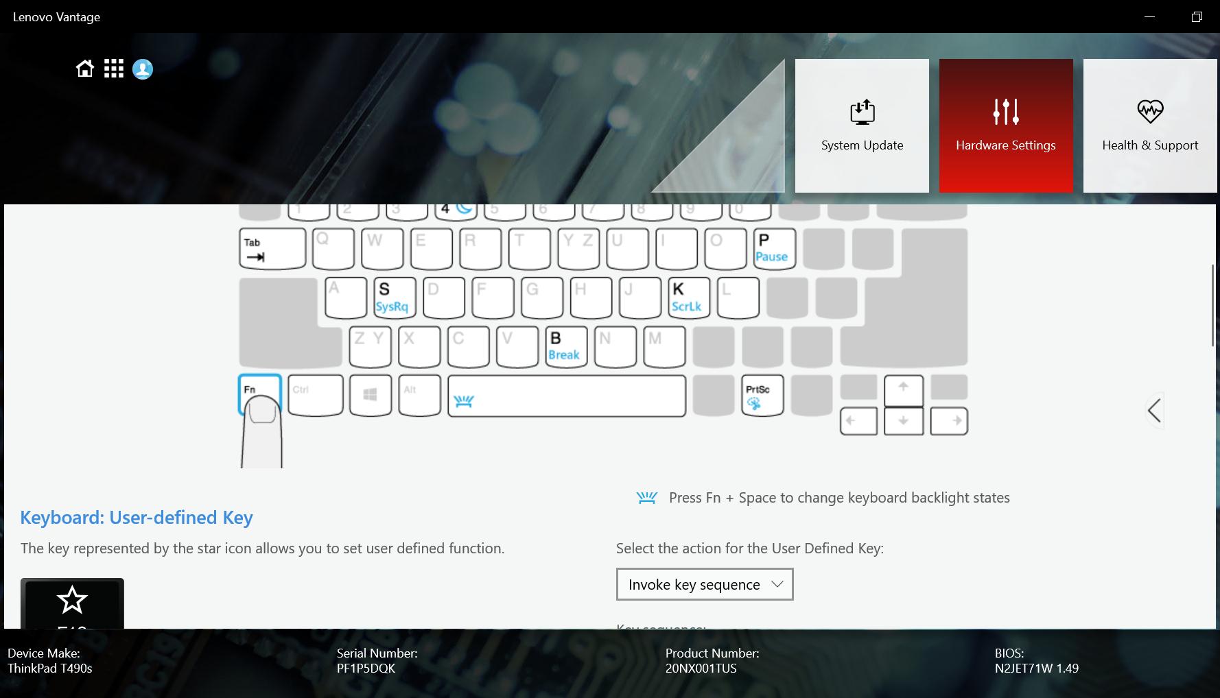 The keyboard settings menu in the Lenovo Vantage software.
