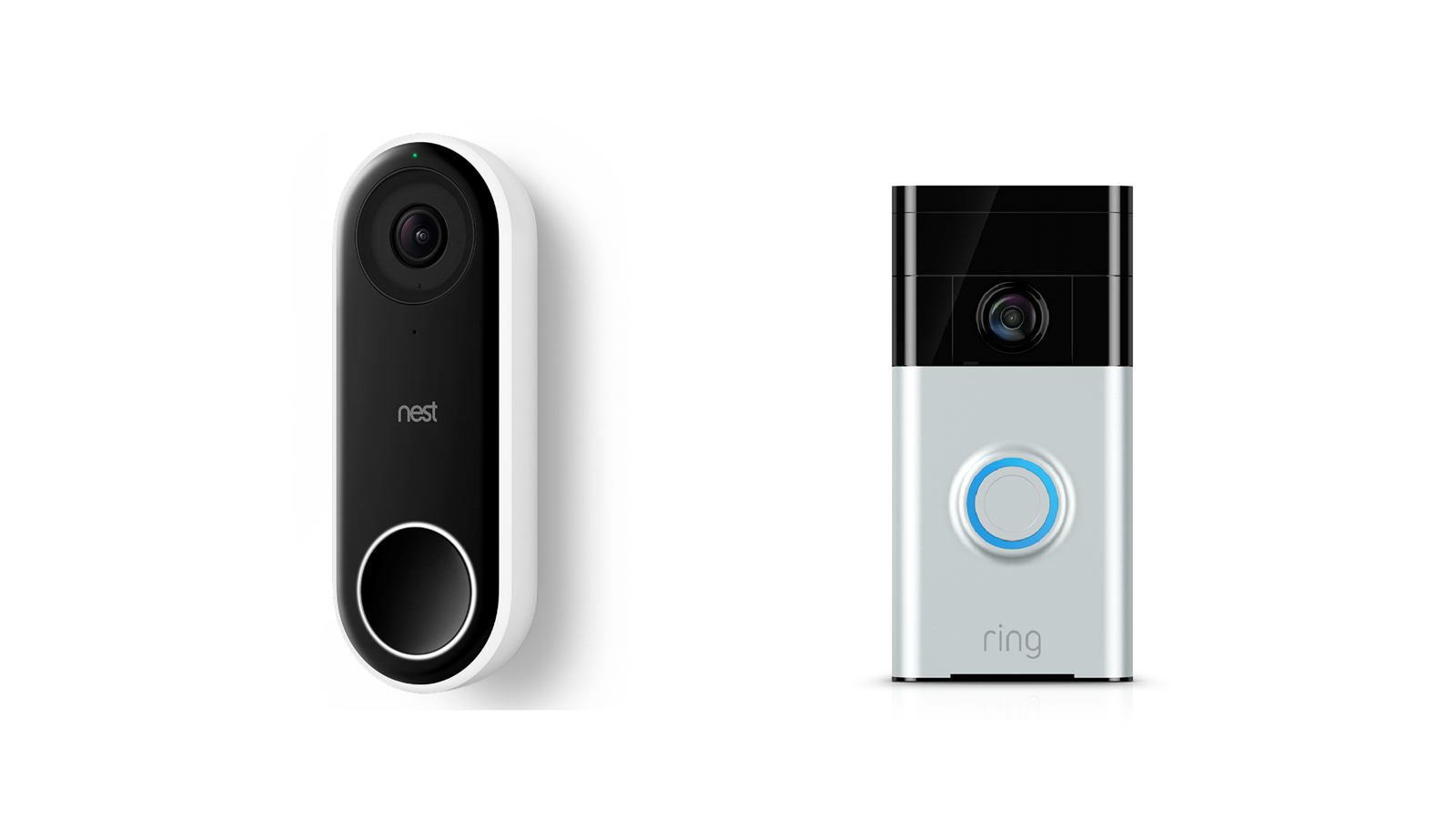 A Nest Hello and Ring Video doorbell side by side.