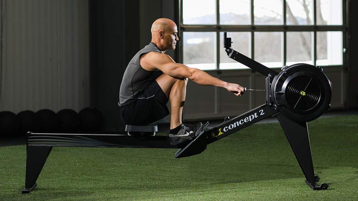 Man Using Concept2 Model E Rower