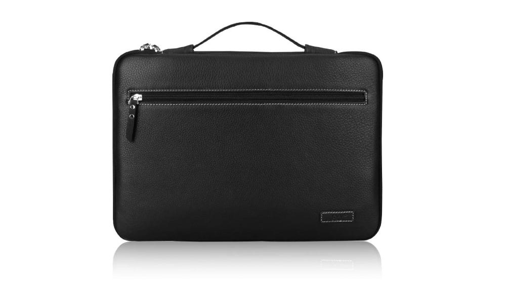 FYY Pocketed Leather Laptop Sleeve