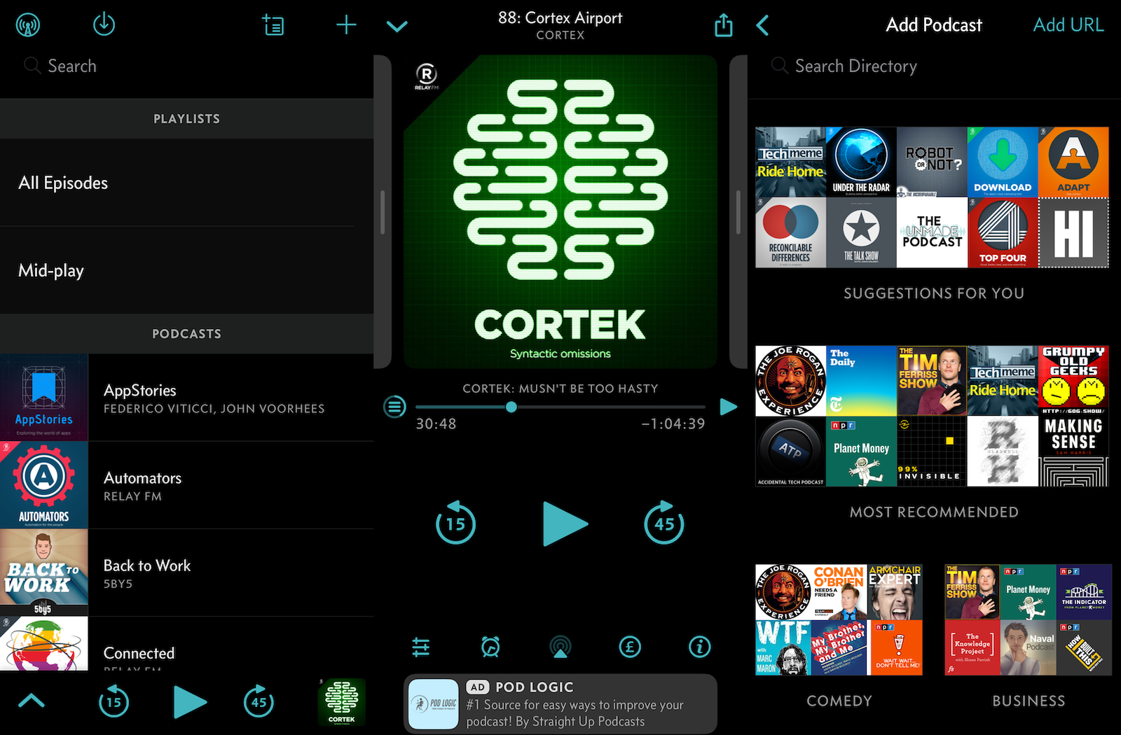 Overcast podcast menu, play screen, and Search menu on a phone.