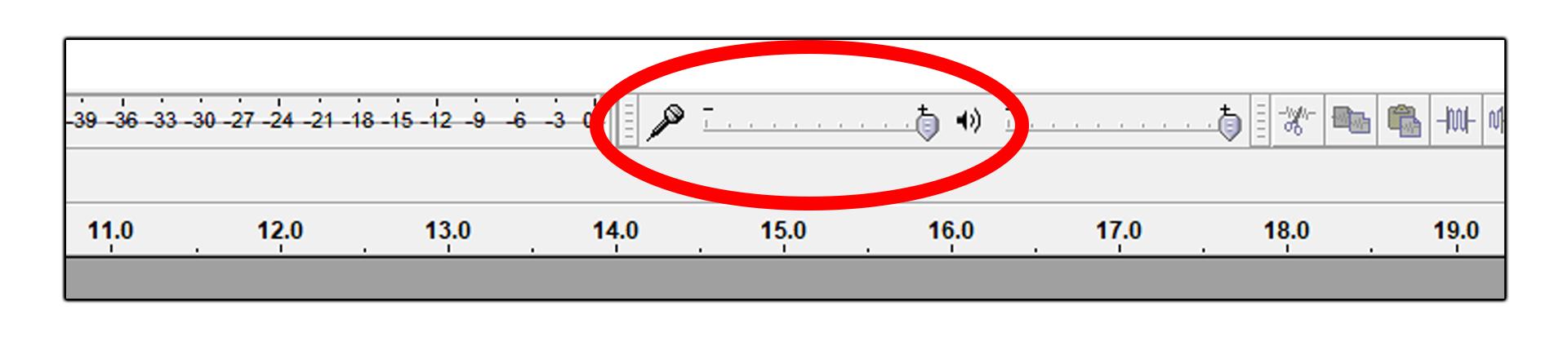 Adjust Audacity's volume slider.