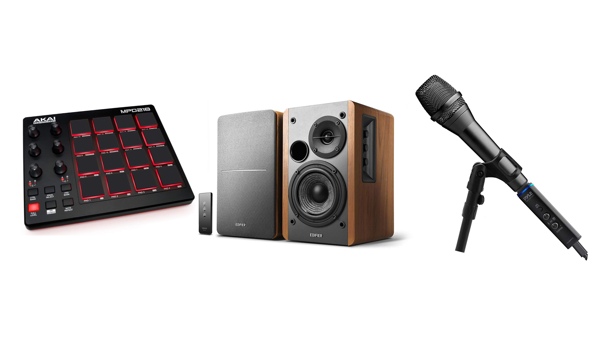 The AKAI MPD218, the Pyle Microphone Adapter, and the Edifier R1280T Bluetooth Bookshelf Speakers