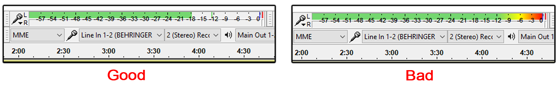 Audacity's equalizer showing a Good (all green) and Bad (green with yellow, orange, and red) volume setting.