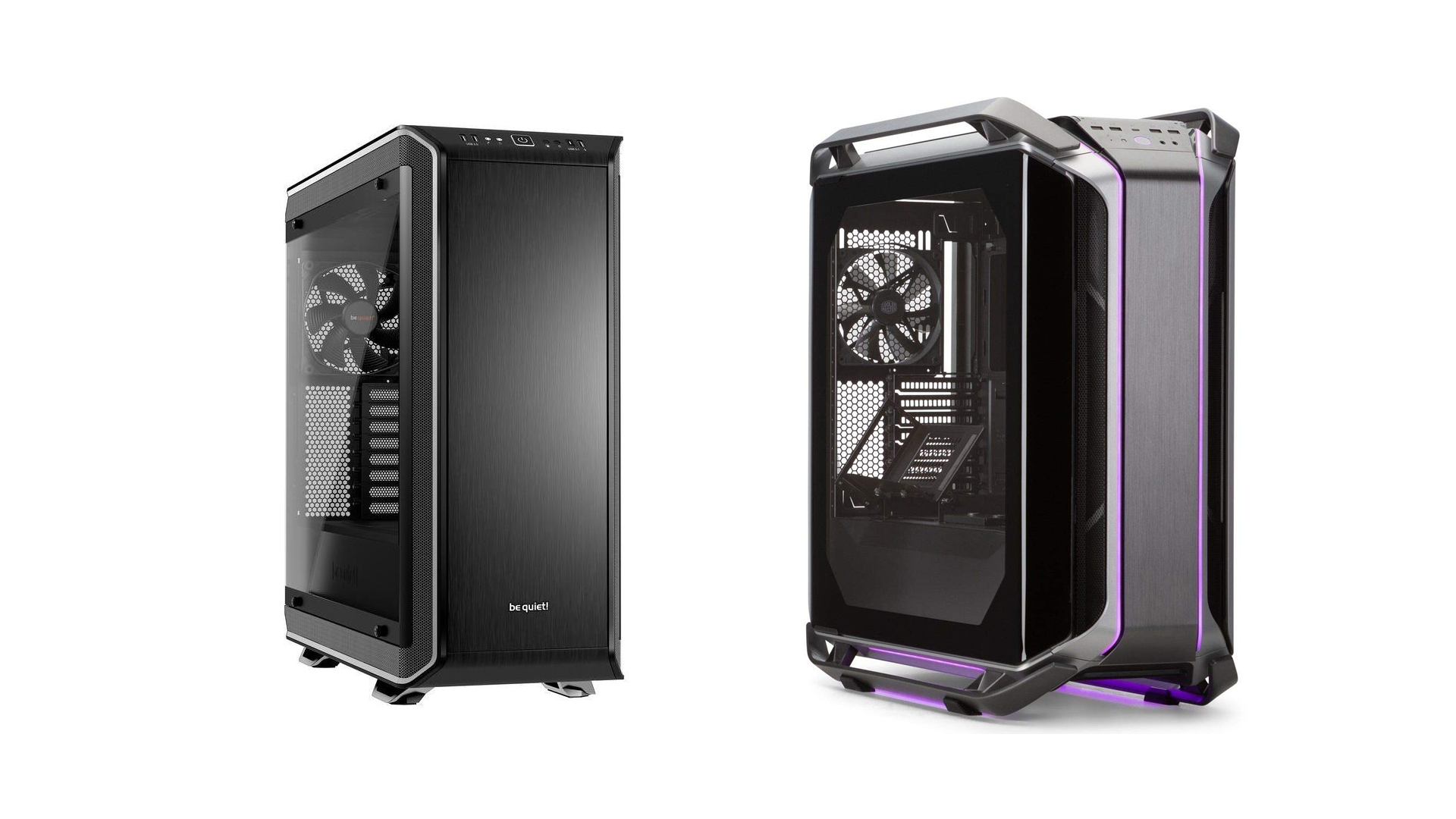 The be quiet! Dark Base Pro and the Cooler Master Cosmos.