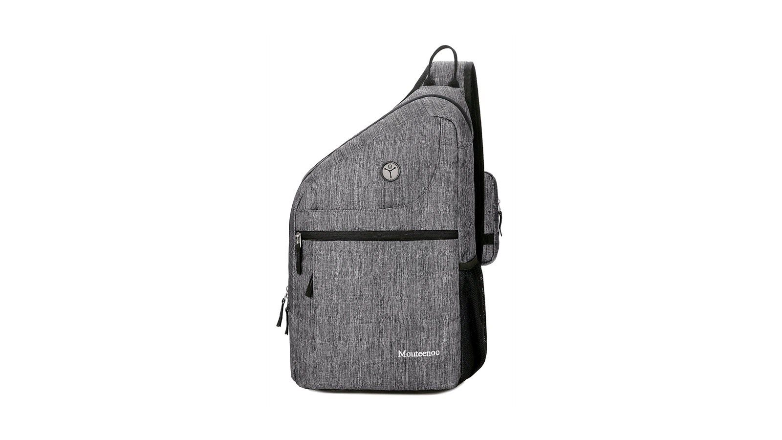 A grey Mouteenoo sling pack, showing a top-carry handle.