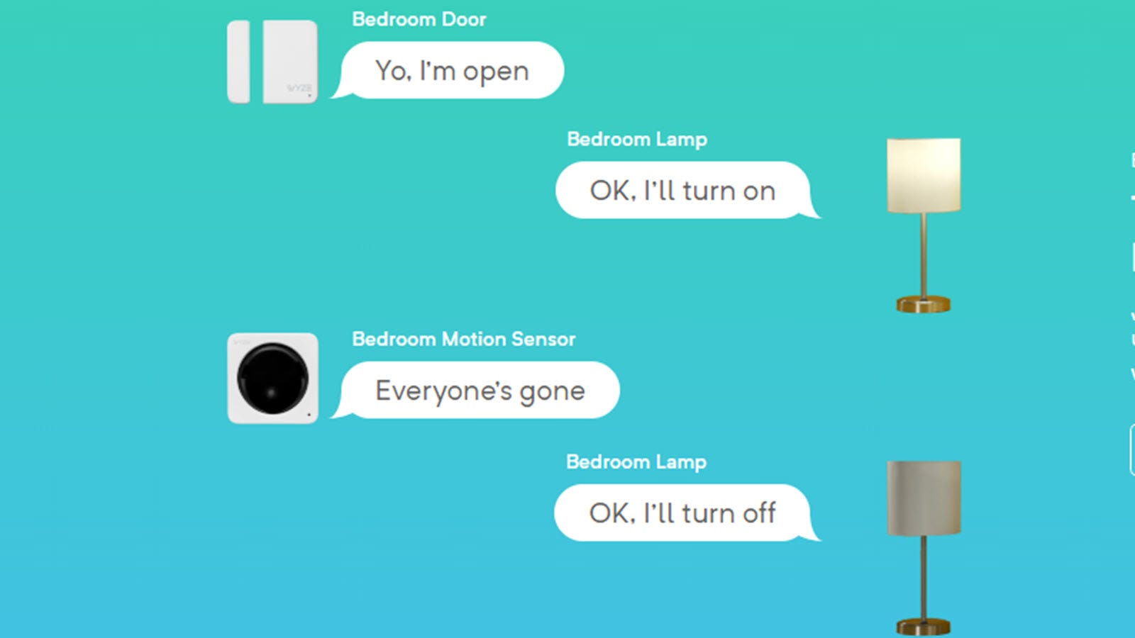 """A contact senstor and IR sensor having a """"conversation"""" with a lamp to turn it off and on."""
