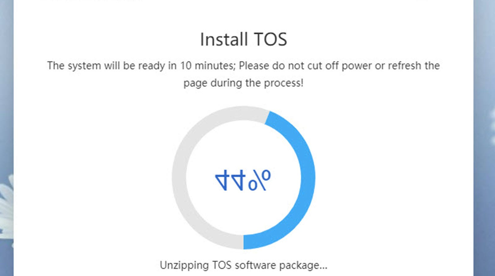 an OS Install dialog, with an upside down 44% and progress circle.