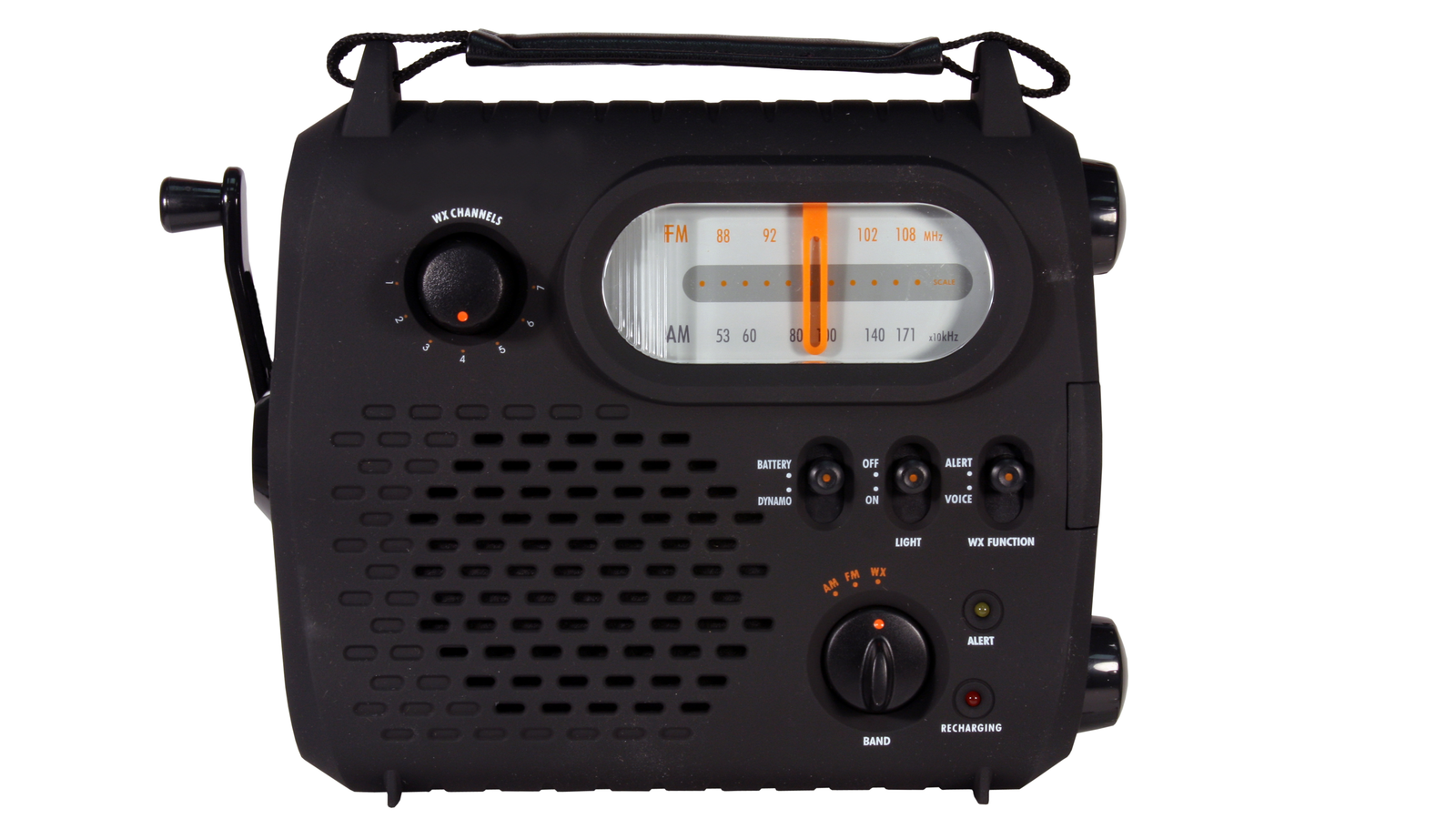 emergency radio with cranking power isolated with clipping path at original size