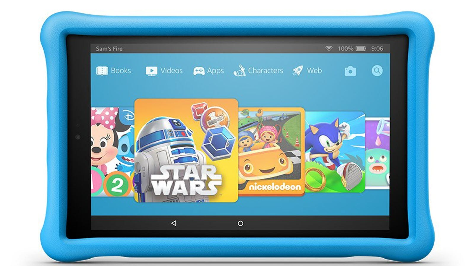 A Blue Fire Tablet 10 inch Kids Edition with Star Wars apps