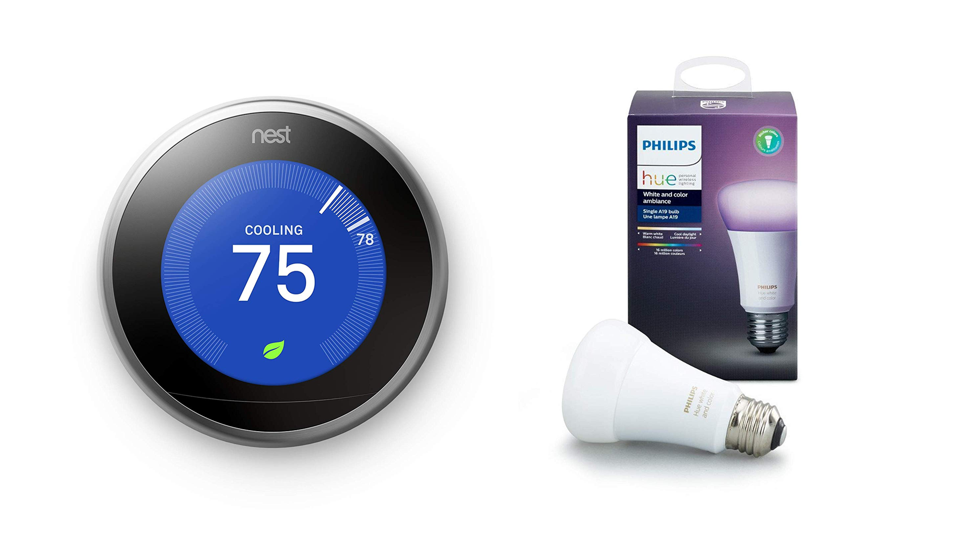 The Nest smart thermostat and the Philips Hue white bulb