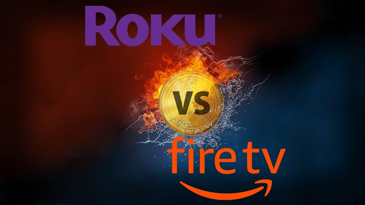 """Roku logo and FireTV logo over a burning """"vs."""" sign."""