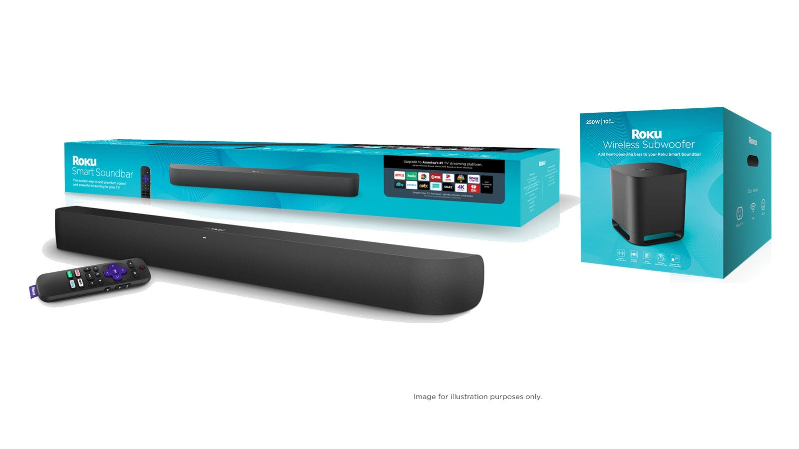 The Roku Smart Sound bar and remote next to the Roku Wireless Subwoofer Box.