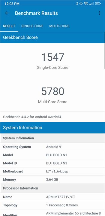 BOLD N1 Geekbench score