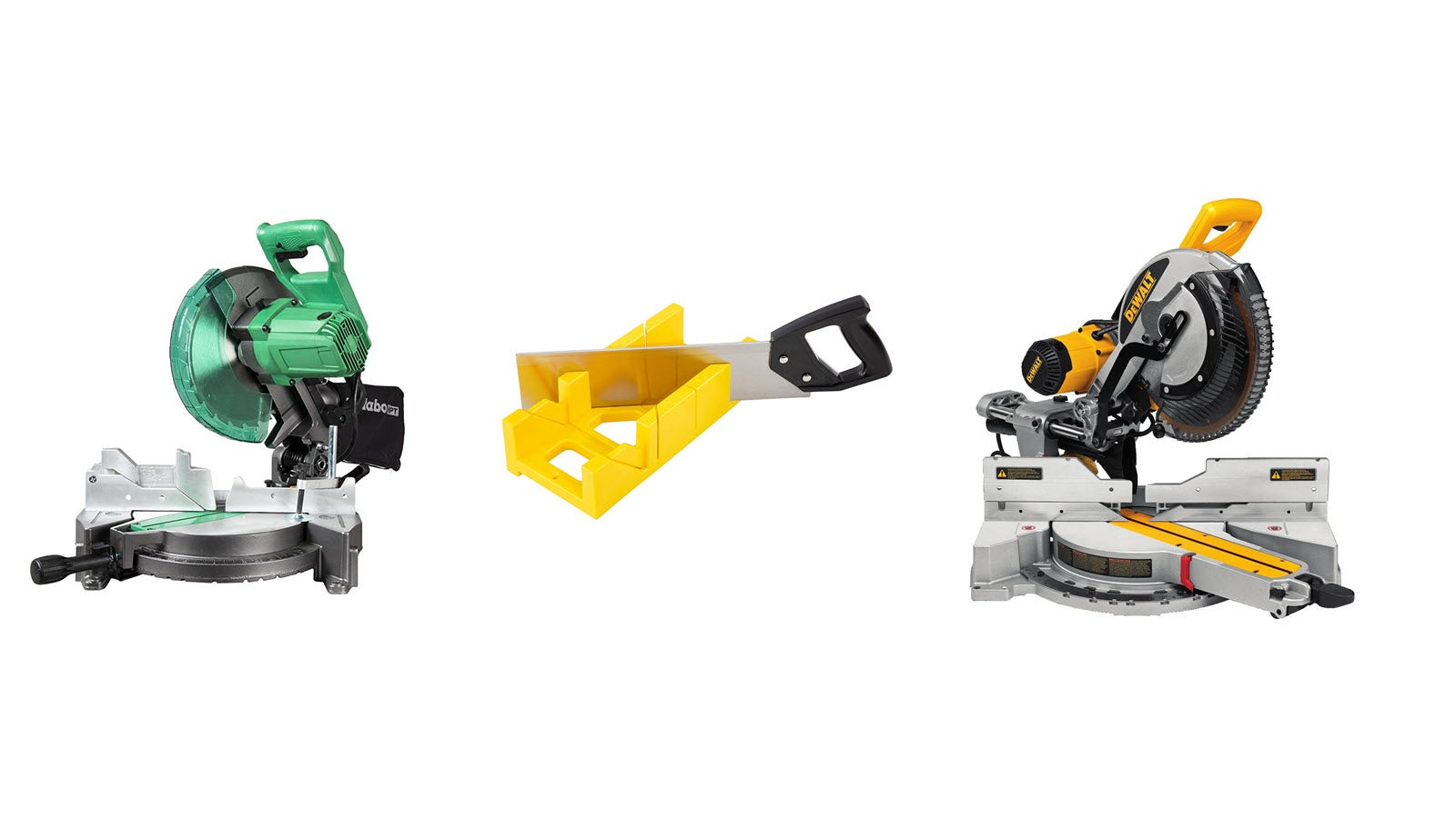 A Metabo miter saw, a GreatNeck miter box with handsaw, and a DEWALT miter saw.
