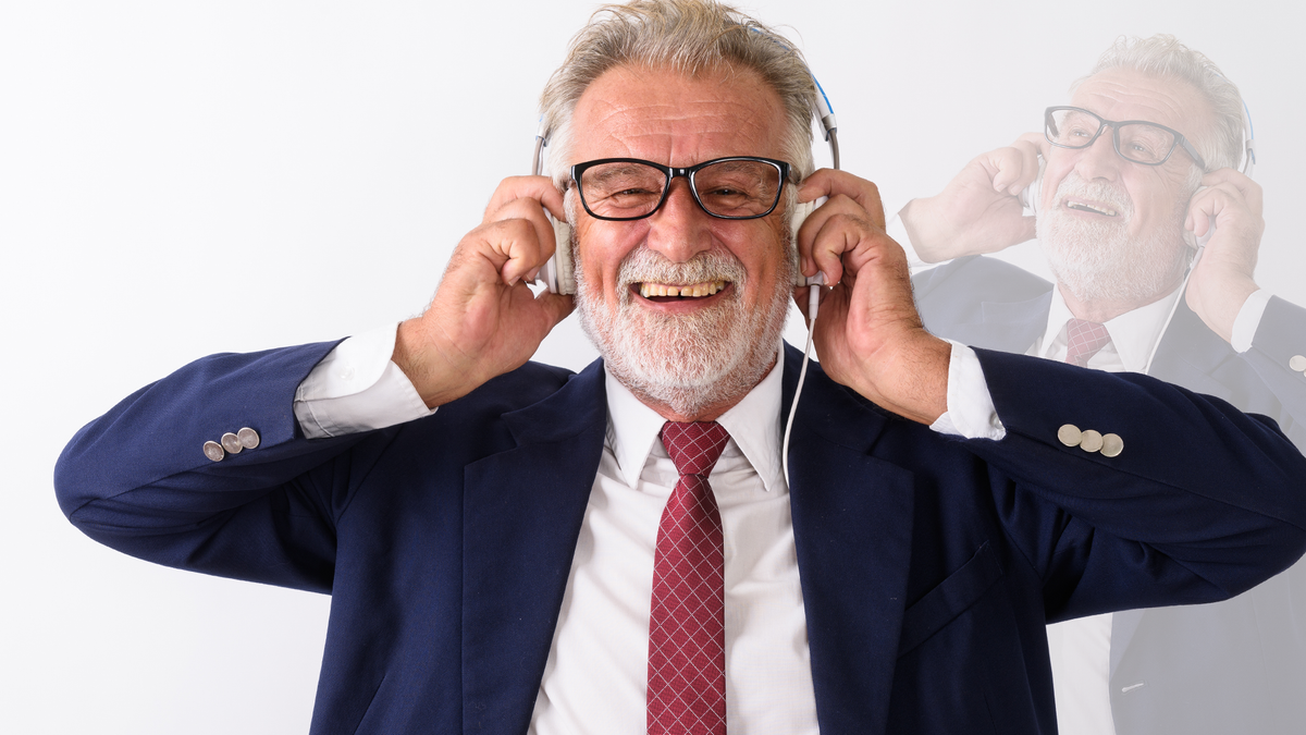 A man is in ecstasy as he listens to brand new music.
