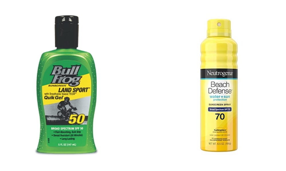 Bullfrog Land Sport Quik Gel Sunscreen and Neutrogena Beach Defense Sunscreen Spray.