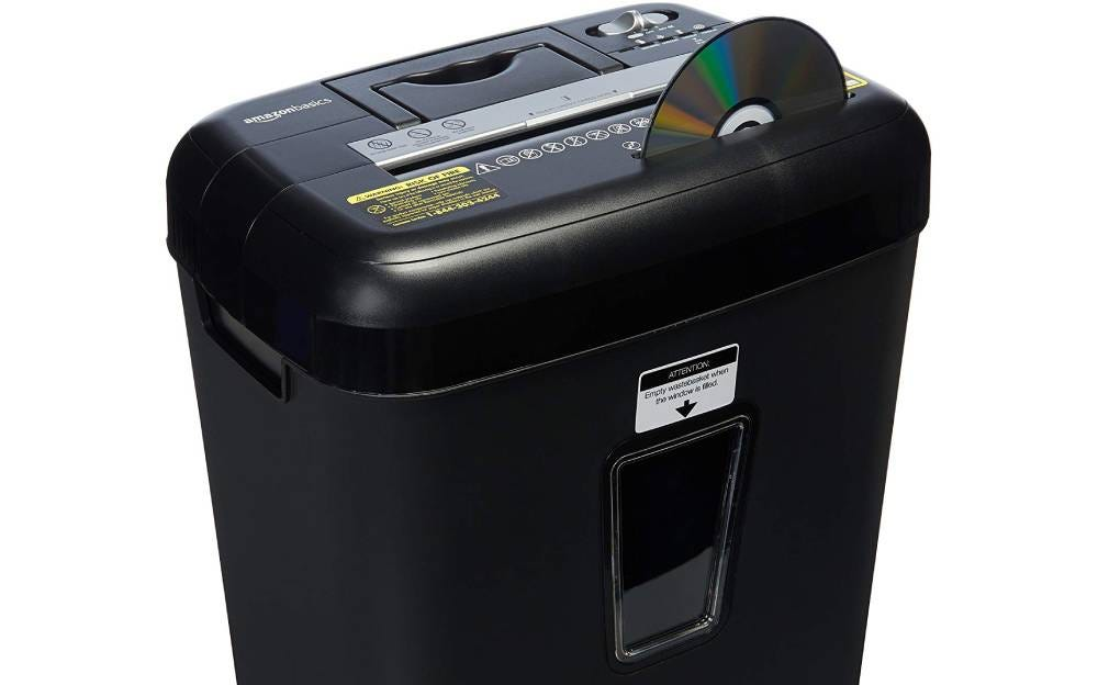 The AmazonBasics 12-Sheet Cross-Cut Paper Shredder.