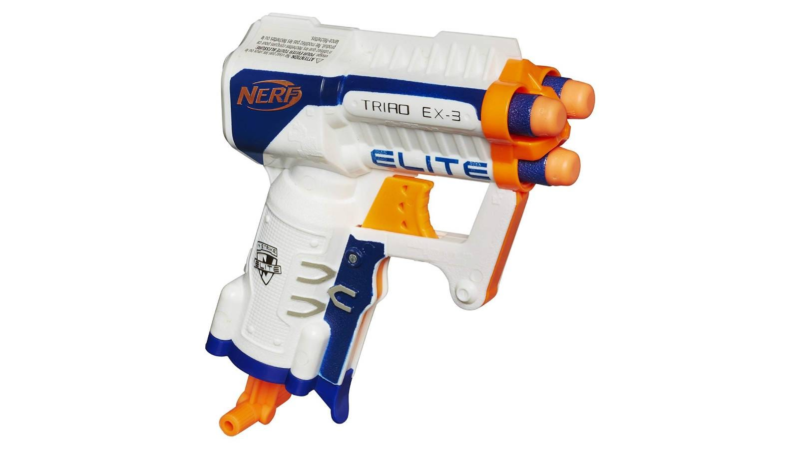 The NERF N-Strike Elite Triad EX-3 toy gun.