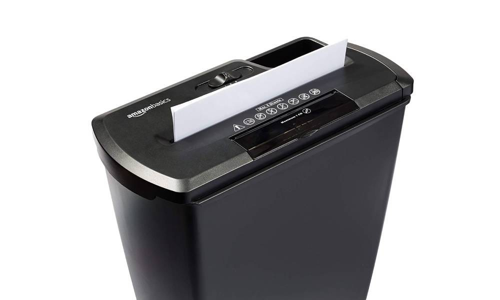 The Amazon Basics 8-Sheet Strip-Cut Paper Shredder.