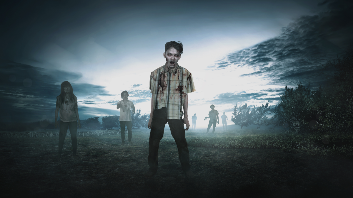 Crowd of aggressive zombies walking around on the spooky countryside
