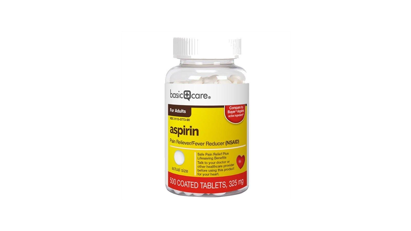 A bottle of Basic Care brand aspirin.