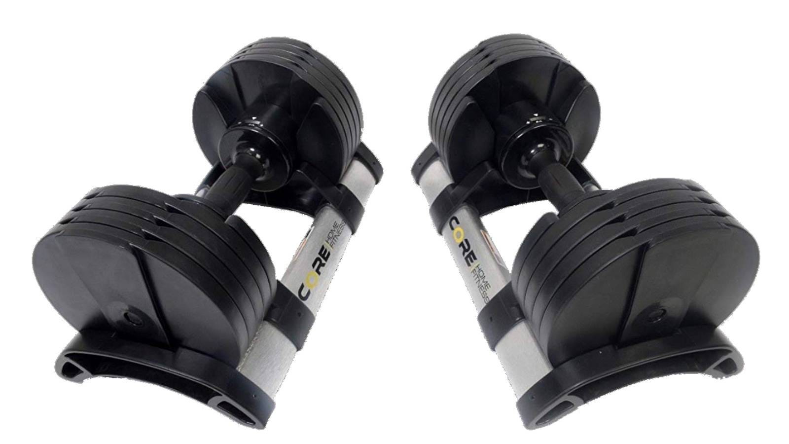 The Core Fitness Adjustable Dumbbell Set.