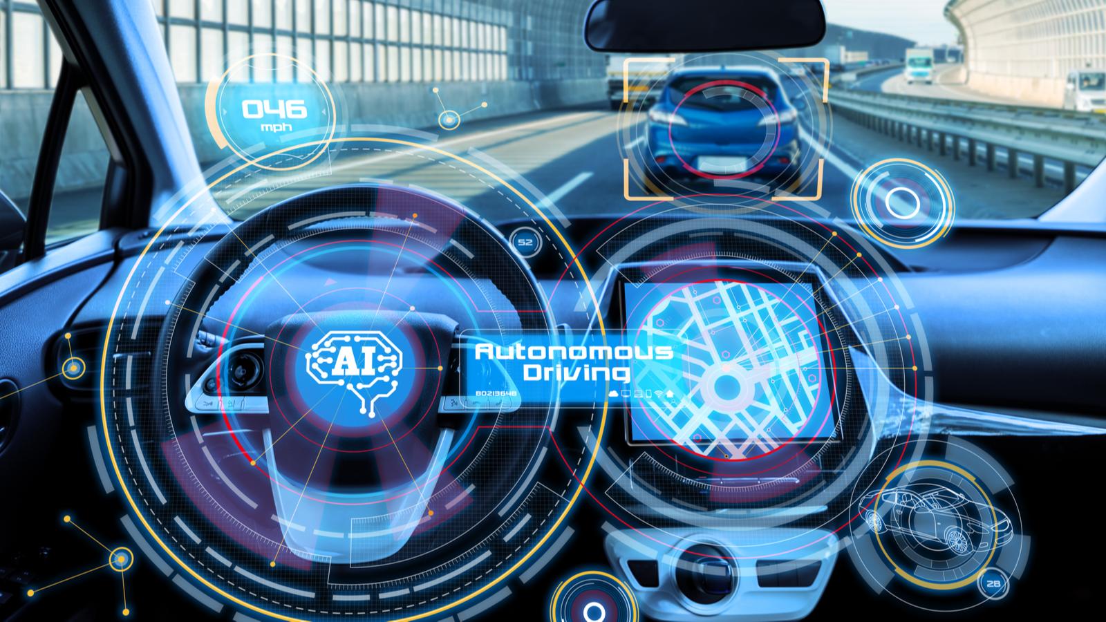 The cockpit of an autonomous car with AI (Artificial Intelligence).