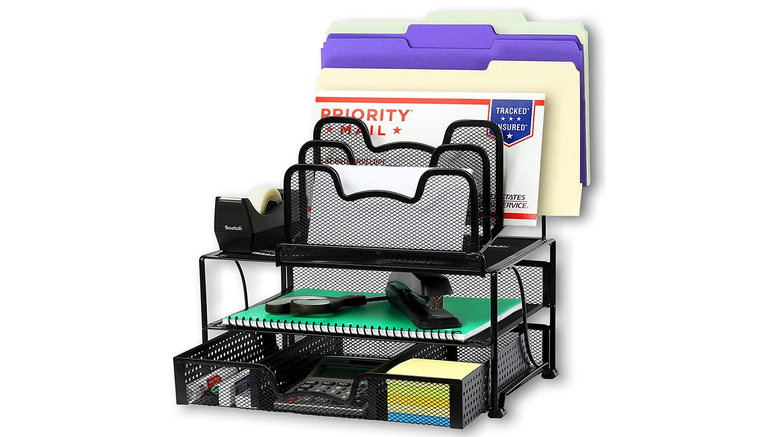 The SimpleHouseware Mesh Desk Organizer filled with file folders, envelopes, a tape dispenser, a stapler, Post-its, and a calculator.