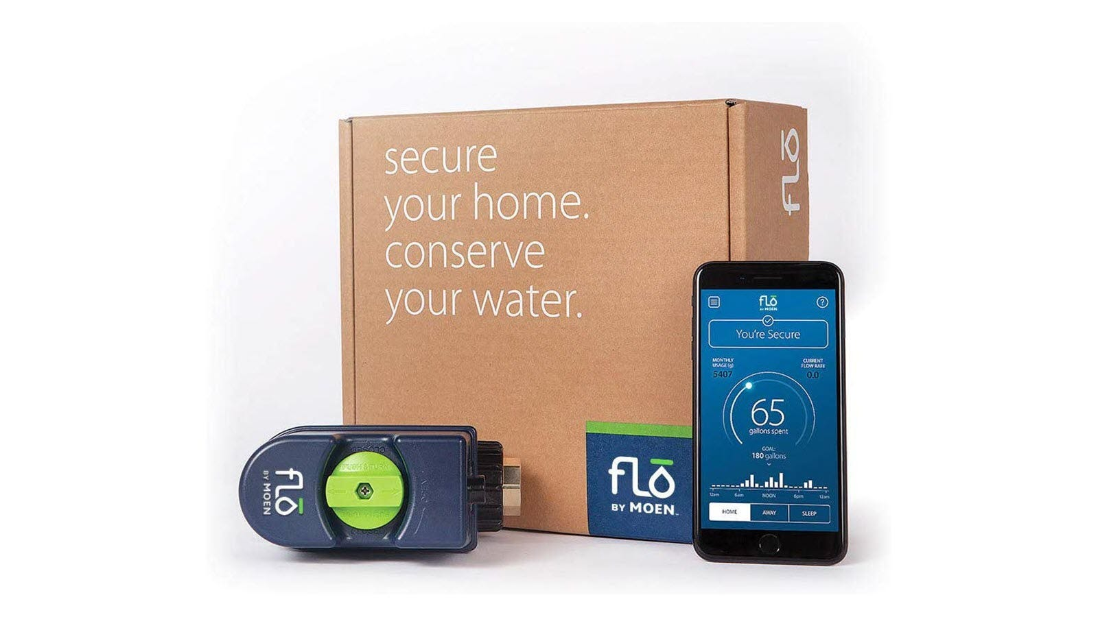 A Flo by Moen smart valve, box, and phone showing the app.