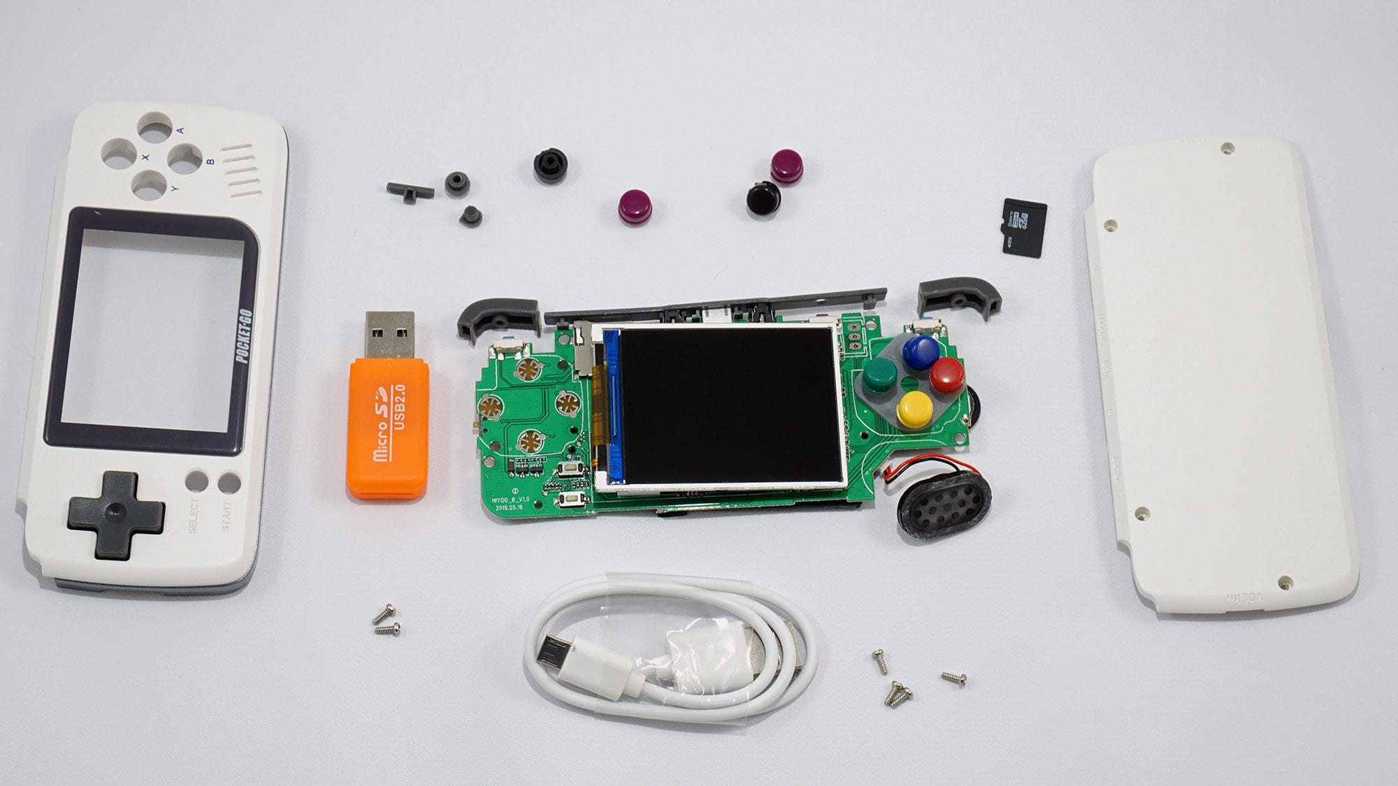 The PocketGo, disassembled with its accessories.
