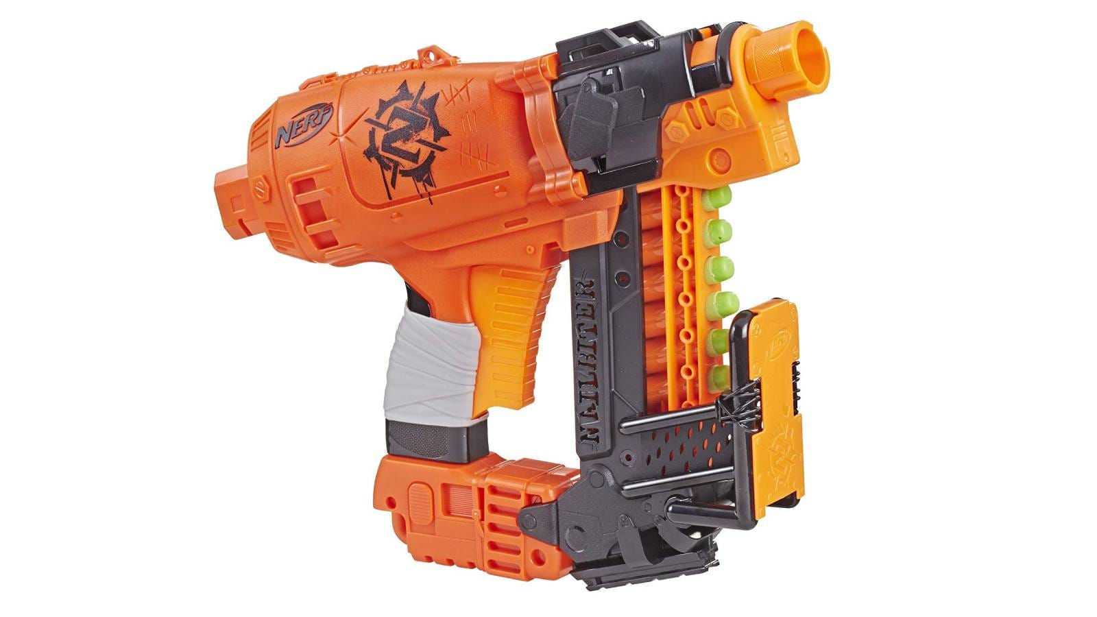 The NERF Nailbiter Zombie Strike toy blaster.