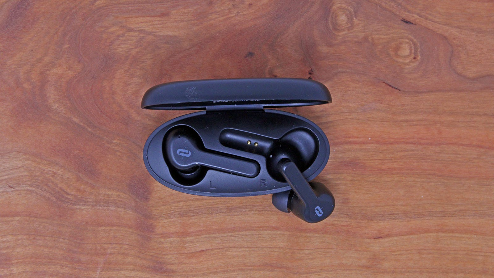 The two TaoTronics earbuds tucked into their case.